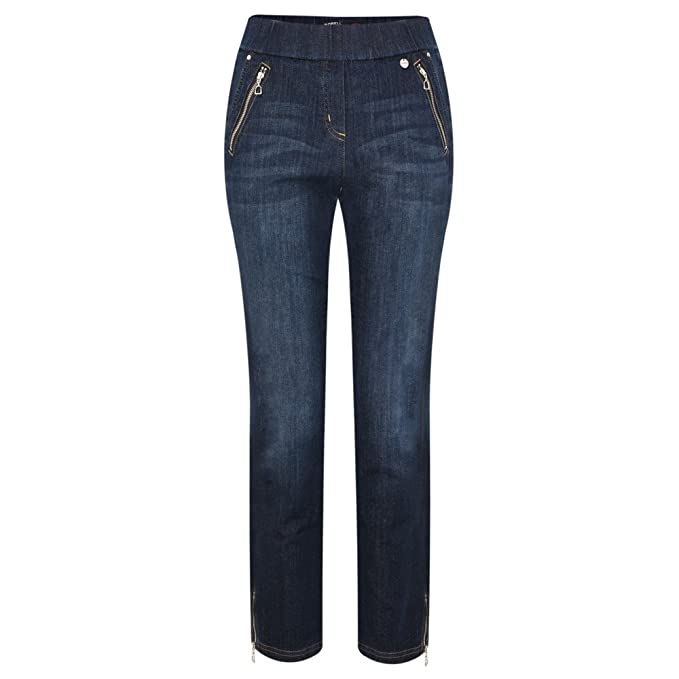 232115a4700f Robell Trousers - Nena Ankle Zip Cropped Jeans, Navy: Amazon.co.uk ...