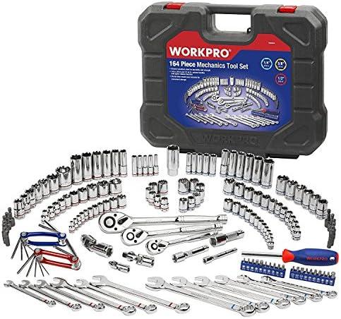 [スポンサー プロダクト]WORKPRO ソケットレンチセット インチ・ミリソケット ラチェットレンチ 車・バイクメンテナンス 工具セット164点組