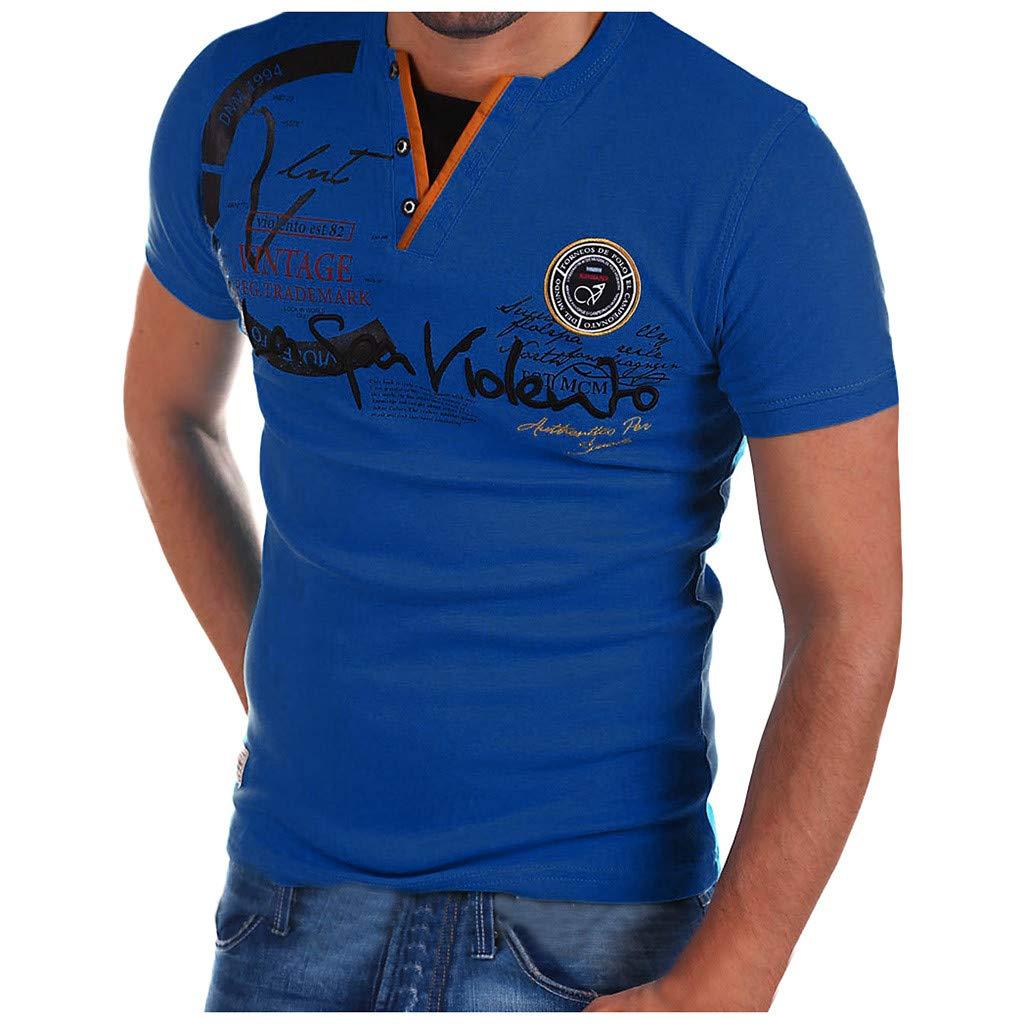 FNKDOR - Camisa de Manga Corta con botón y Letra D Bleu Foncé M ...