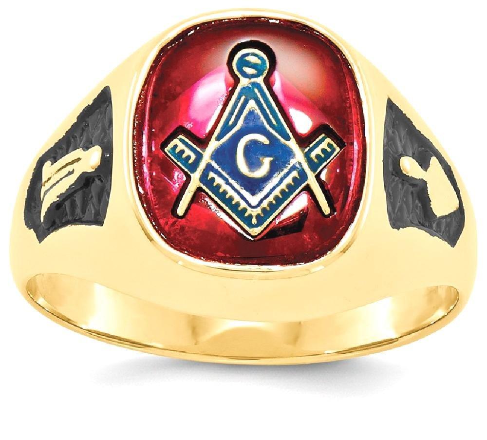 ICE CARATS 14k Yellow Gold Mens Synthetic Red Ruby Masonic Freemason Mason Band Ring Size 10.00 Man Fine Jewelry Dad Mens Gift Set