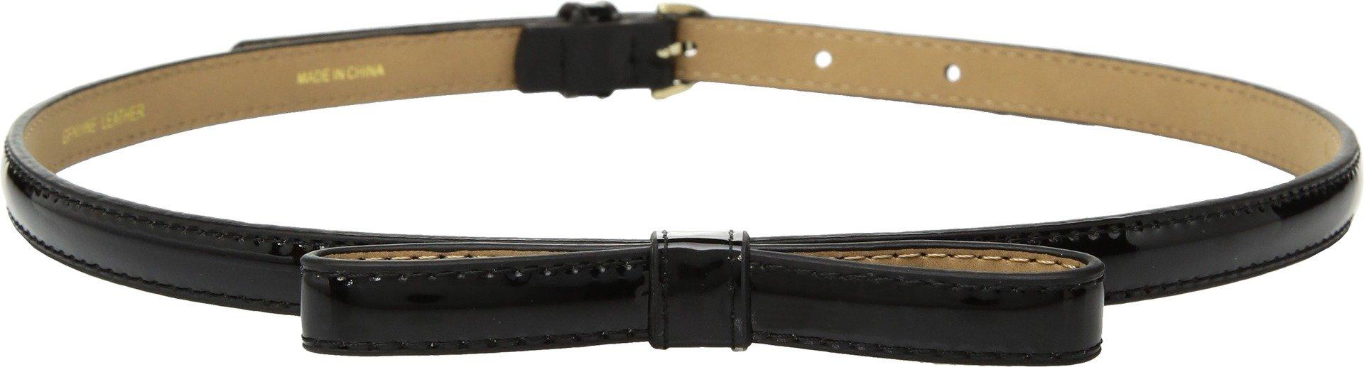 Kate Spade New York Women's Patent Skinny Bow Belt, Black, Large