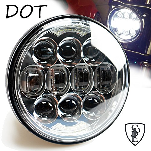 """80W DOT Approved 5-3/4"""" 5.75"""" Daymaker Osram LED Projector Headlight for Harley Davidson Motorcycles(Chrome)"""