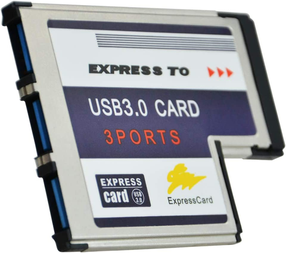 A ADWITS Express Card 54 mm PCMCIA 3 Port SuperSpeed USB 3.0 5Gbps Hub, with Fresco FL1100 Chip Compatible Windows 10, 8, 7, 2000, XP, Vista, MAC OS