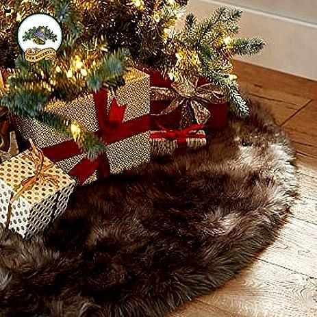shaggy brown bear skin faux fur christmas tree skirt plush soft furry christmas fun - Furry Christmas