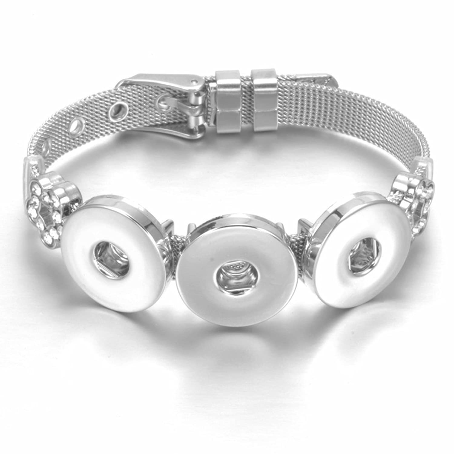 Stainless Steel x3 Snaps Flower Charms Bracelet 20mm For 18mm Snap Button Snap Jewelry SZ0452i