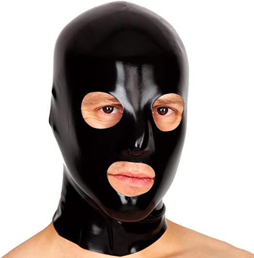 Black Latex Rubber Fancy Dress Anatomical Mask Nose /& Mouth Holes 2nd BIN