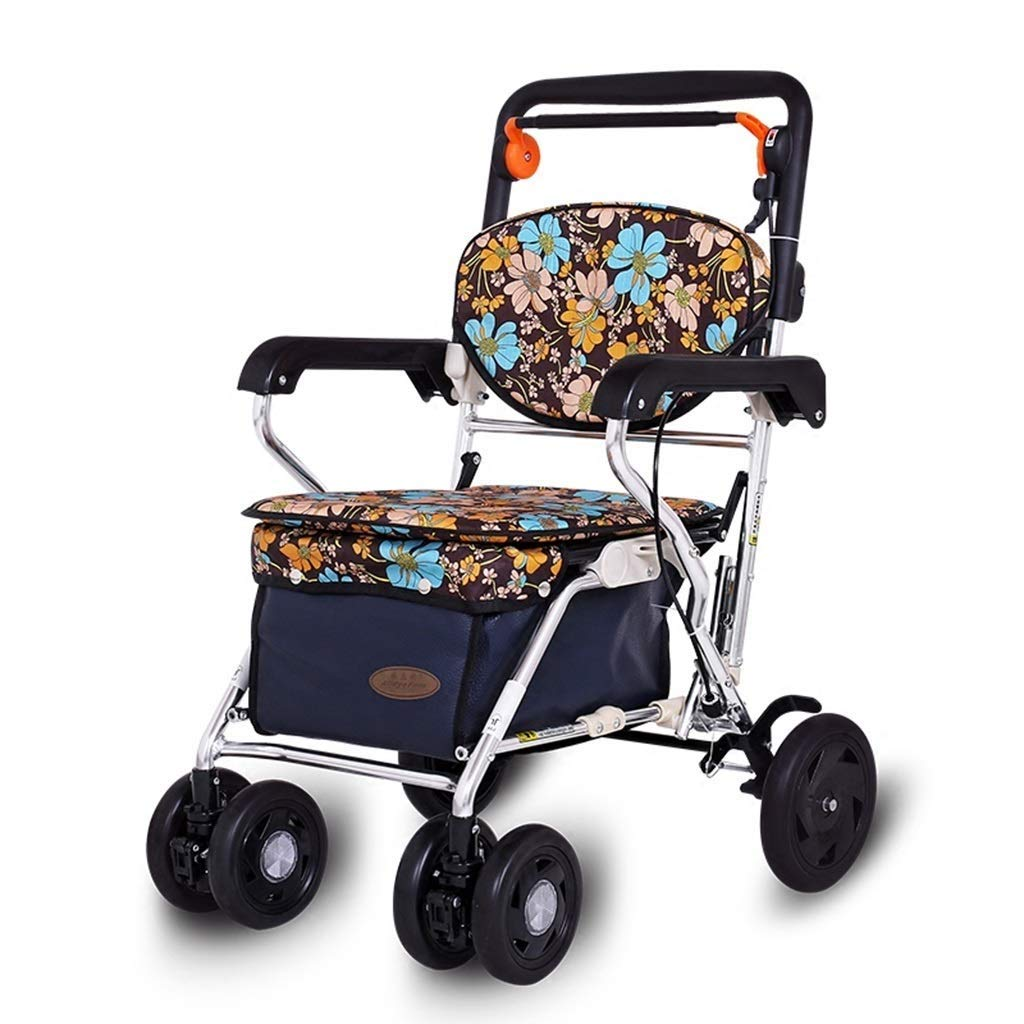 YFQ Luxury Elderly Walker with Cushioned Seat Foldable Adjustment Height Assisted Walker Family Assistant Walking Aid Equipment Rehabilitation Walk