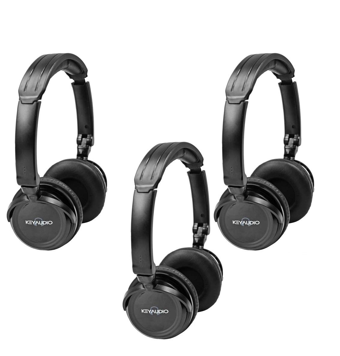 Three Pack of Two Channel Fold Flat Adjustable Child-Adult Size Universal Rear Entertainment System Infrared Headphones Wireless IR DVD Player Head Phones for in Car TV Video Audio Listening by Key Audio