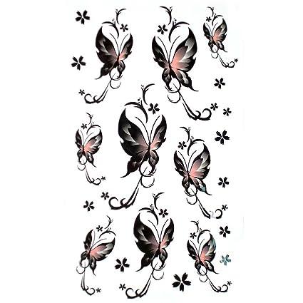 GGSELL falsa impermeable pequeña mariposa tatuaje pegatinas negro ...