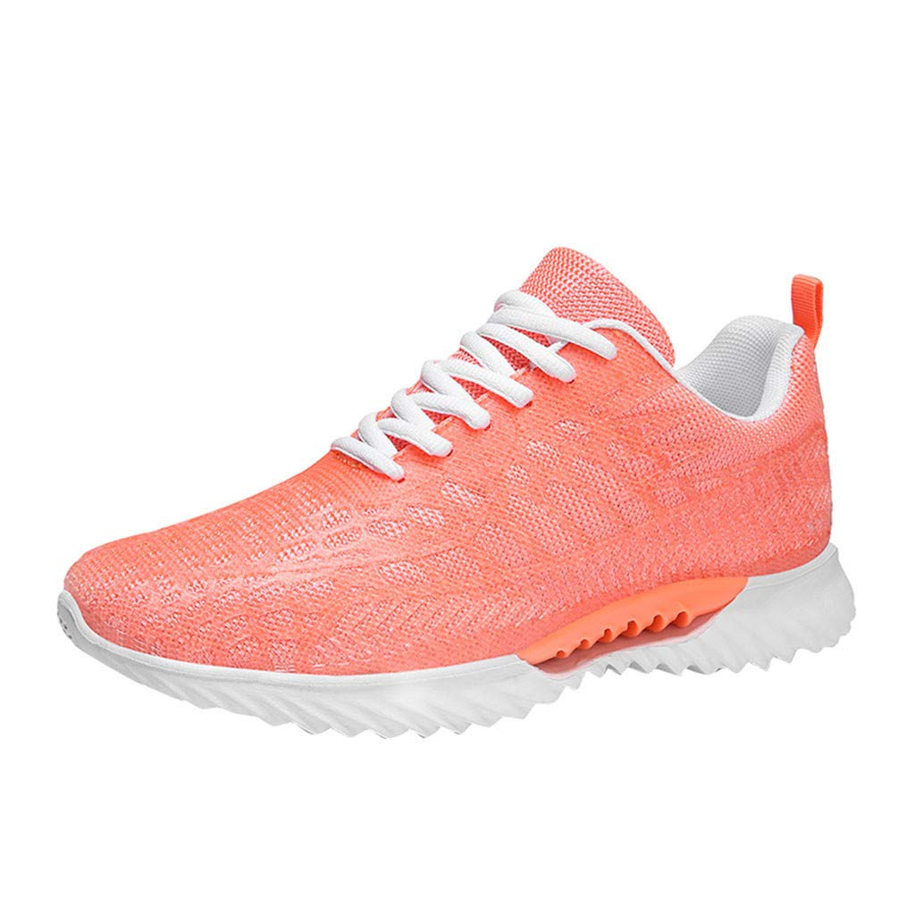 Women's Men's Mesh Running Shoes Couple Breathable Lace Up Sneakers Lightweight Soft Sole Non-Slip Boots Casual Athletic (Orange, US:8.5)
