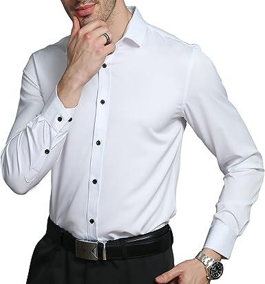 KelaSip Camisa para Hombres Transpirable Manga Larga Color Sólido para Hombres Slim Fit Formales/Casual Camisas Negocios Clásico Bambú Fibra Camisa Tops Blusa para Hombres: Amazon.es: Ropa y accesorios