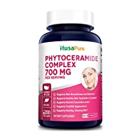 Phytoceramides Complex 700mg 200 Veggie Capsules (Non-GMO) Powerful Skin Repair & Rejuvenation - All Natural Plant Derived Anti-Aging Powerhouse for Reduced Fine Lines & Wrinkles