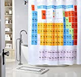 Periodic Table of Elements Chemistry Student Bathroom Shower Curtains -Waterproof Mildew Resistant -Polyester Fabric Big Bang Theory Design -3D Digital Print with 12 Hooks (72x72) -StylityHome