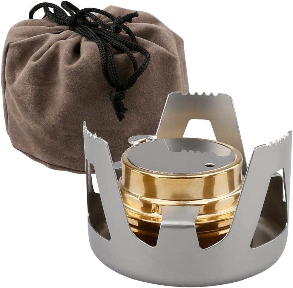 mochileros senderismo picnic A-szcxtop Minihornillo de alcohol port/átil en lat/ón y aleaci/ón de aluminio para camping al aire libre caf/é