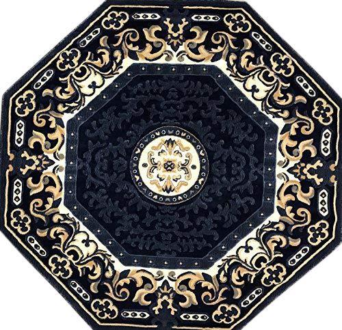 Americana Traditional Octagon Persian Area Rug Navy Blue Beige Design 101 (5 Feet 3 Inch X 5 Feet 3 Inch)