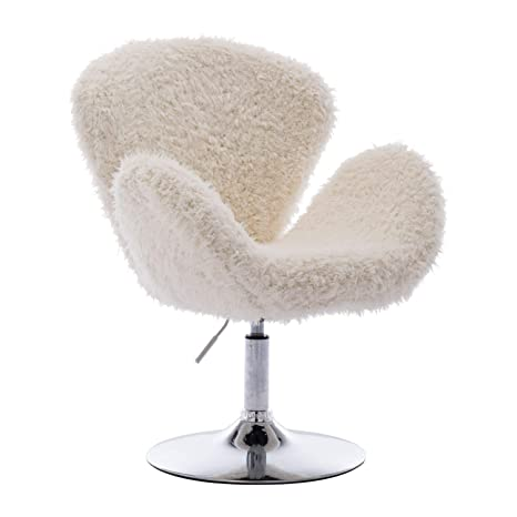 Astounding Zhenghao Faux Fur Swivel Makeup Stool Modern White Swan Chair Curly Hair Fluffy Fuzzy Accent Chair With Armrest Alphanode Cool Chair Designs And Ideas Alphanodeonline