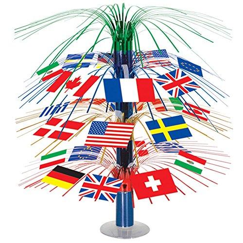 Beistle 50545 International Flag Cascade Centerpiece, 18-Inch ()