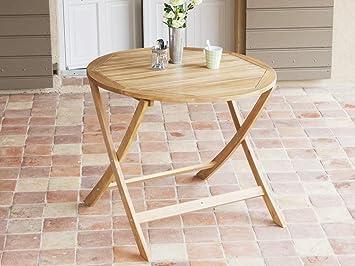 Delamaison Table de Jardin Ronde en Acacia 90cm Couleur Teck LAEMIS ...