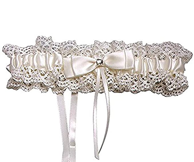 Haydice Elegant Bowknot Satin Wedding Garter Bridal Belt Lace Bride Wedding  Accessories (Beige) 80c8524f0406