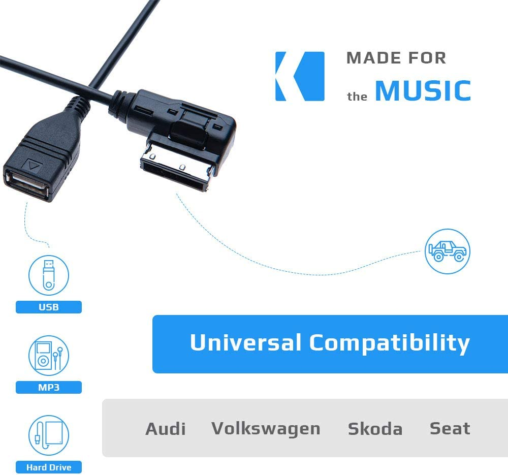 4.9ft Compatible with Audi A6L Q5 Q7 A8 S5 A5 A4L A3 VW Volkswagen Tiguan GTI CC Magotan Skoda Fabia Octavia Vehicle Radio AMI MDI to USB Female Music Media Interface Cable Adapter