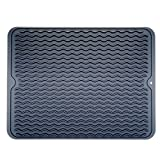 Swaroser Large Kitchen Silicone Dish Mats Heat Resistant Dry Mats 16 X 12 Inch (Dark Gery)