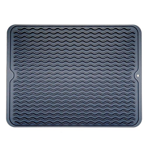 Swaroser Large Kitchen Silicone Dish Mats Heat Resistant Dry Mats 16 X 12 Inch (Dark Gery) by BlueField