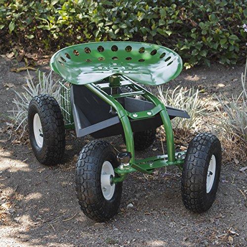 ARKSEN Rolling Garden Cart Backyard Adjustable Seat Swivel, Basket w/Steering Handle Green ()