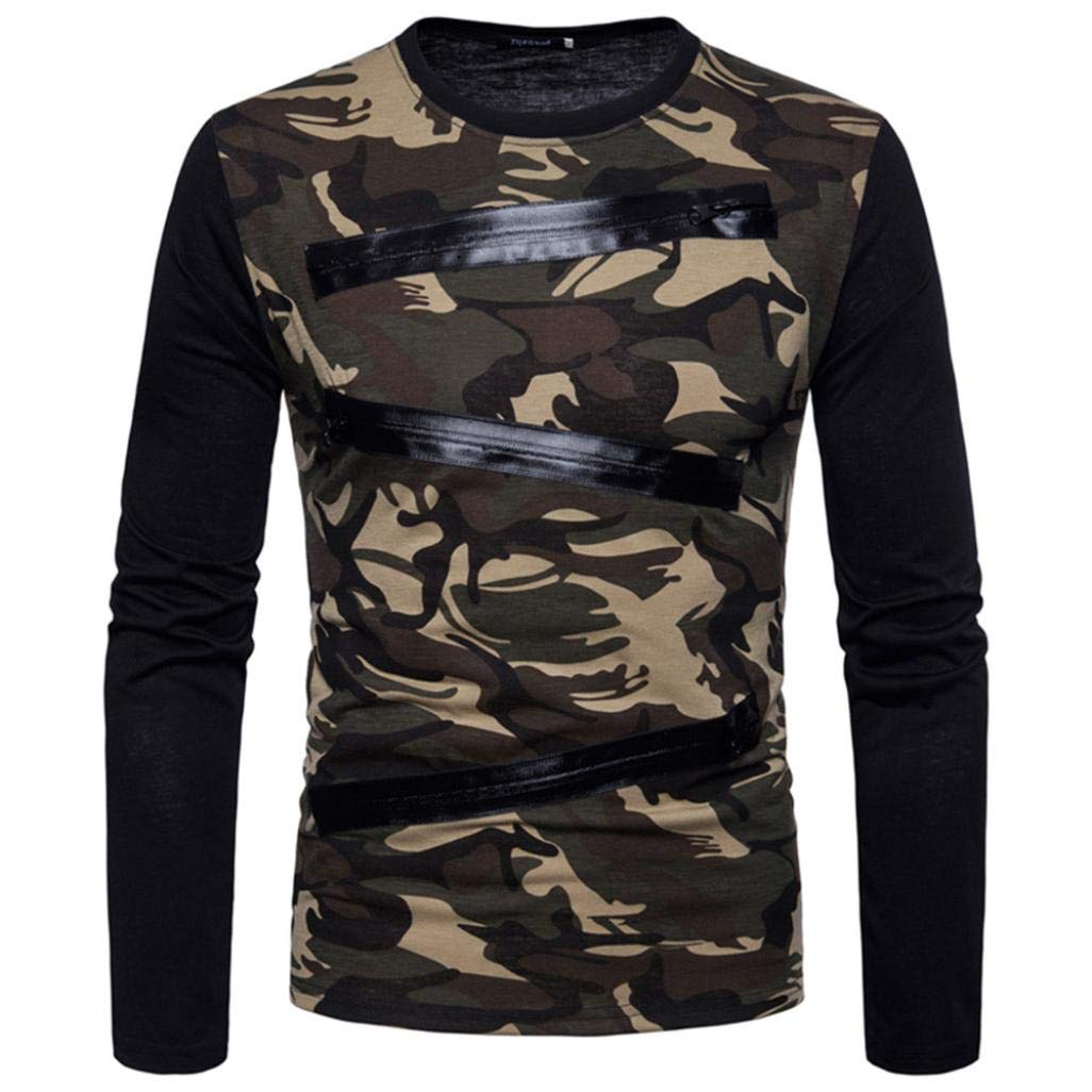 Mens Tops,Military Camouflage Long Sleeve Patchwork Zipper T-Shirt Camo Army Tee Casual Suits Shirts Blouse Top (Camouflage, L)