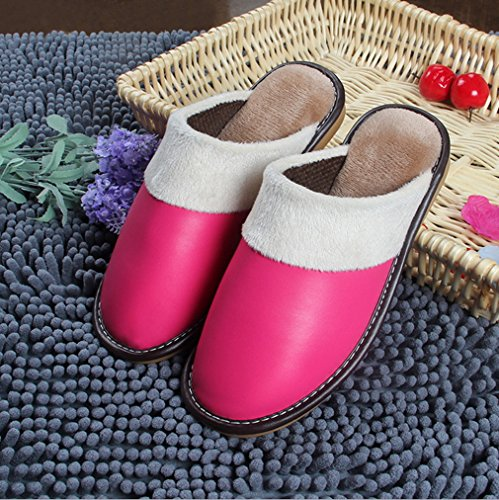 Pantofole Samsay Unisex In Pelle Morbida Peluche Scarpe Rosa