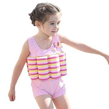 Bañador de una pieza con flotador integrado, para niños y niñas, Infantil, Pink Stripe, 7 años: Amazon.es: Deportes y aire libre