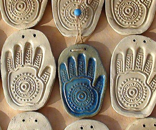 Unique Ceramic handmade Hamsa, Wall Hanging Art, Meditation Home Decor, Blue Judaica Blessing, Jewish Hand Gift, Evil eye talisman, Protection Symbol