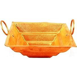 || Green World Pooja Samagri || Copper Yagya Hawan/Havan/ Yagna Kund, Poojan Purpose, Indian Cultural Religious Item Best for Home, Office, Gifts 12x12 cms