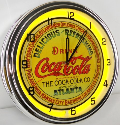 "Coca Cola Keg Label 15"" Neon Wall Clock Lighted Sign Yellow"