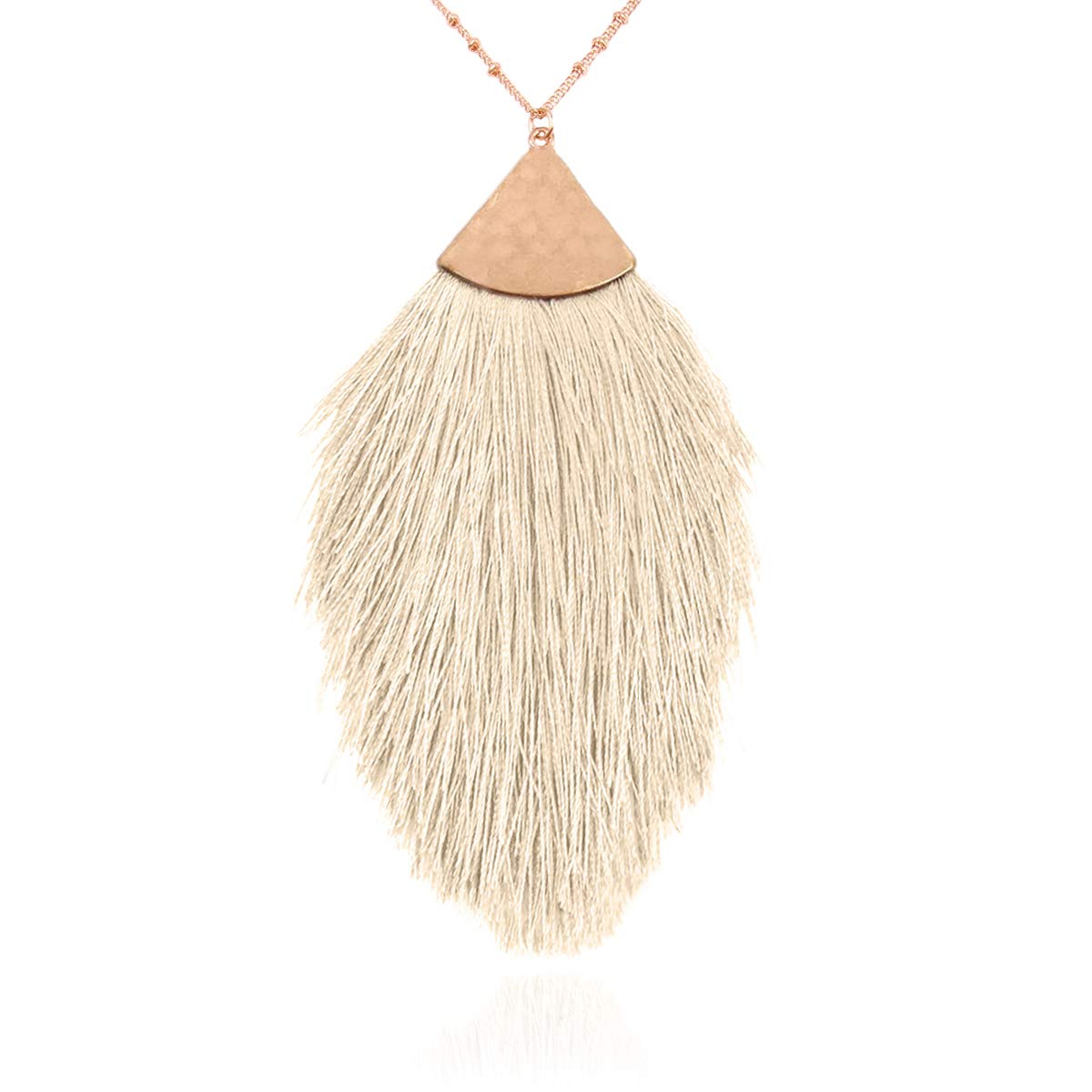 RIAH FASHION Antique Bohemian Silky Thread Fan Tassel Statement Necklace - Vintage Gold Feather Shape Strand Fringe Lightweight Long Chain (Feather Fringe - White) by RIAH FASHION