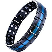 Feraco Mens Titanium Steel Magnetic Therapy Bracelet with Double Strong Magnets for Arthritis Pain Relief, Black&Blue
