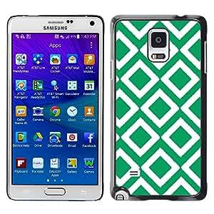 [Neutron-Star] Snap-on Series Teléfono Carcasa Funda Case Caso para Samsung Galaxy Note 4 [Cuadros vintage papel pintado verde]