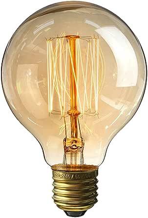 LEDMOMO LED Edison Bulbs, Vintage Bulbs 40W 220V G80 Light Bulbs E27 Base Filament Bulb Round Bulbs for Home Light Fixtures