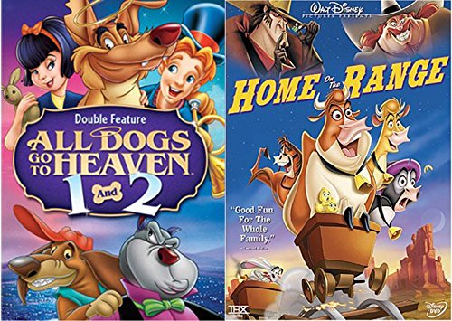 Patch of Heaven Disney Home on Range Music Cartoon + All Dogs Part 1 & 2 Cartoon Movie DVD Animated Double Feature Set Bundle (Toaster Lions)