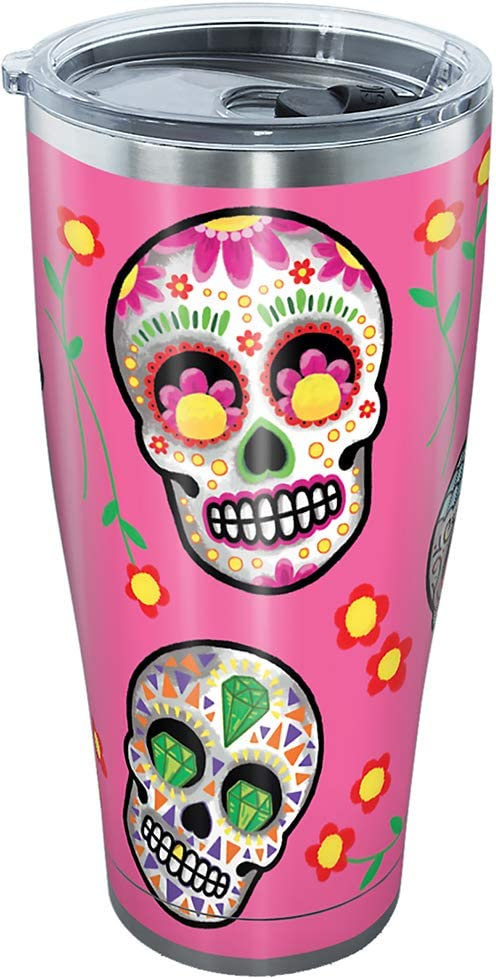 Tervis Sugar Skulls Stainless Steel Tumbler with Clear and Black Hammer Lid 30oz, Silver