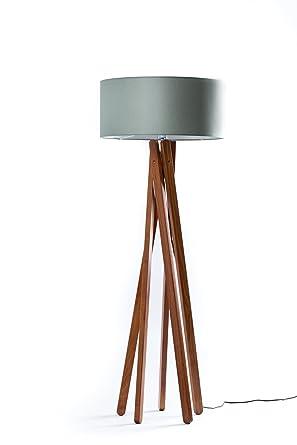 Hochwertige Design Stehlampe Tripod Mit Textil Schirm Aus Chintz In Grau  Und Stativ/Gestell Aus