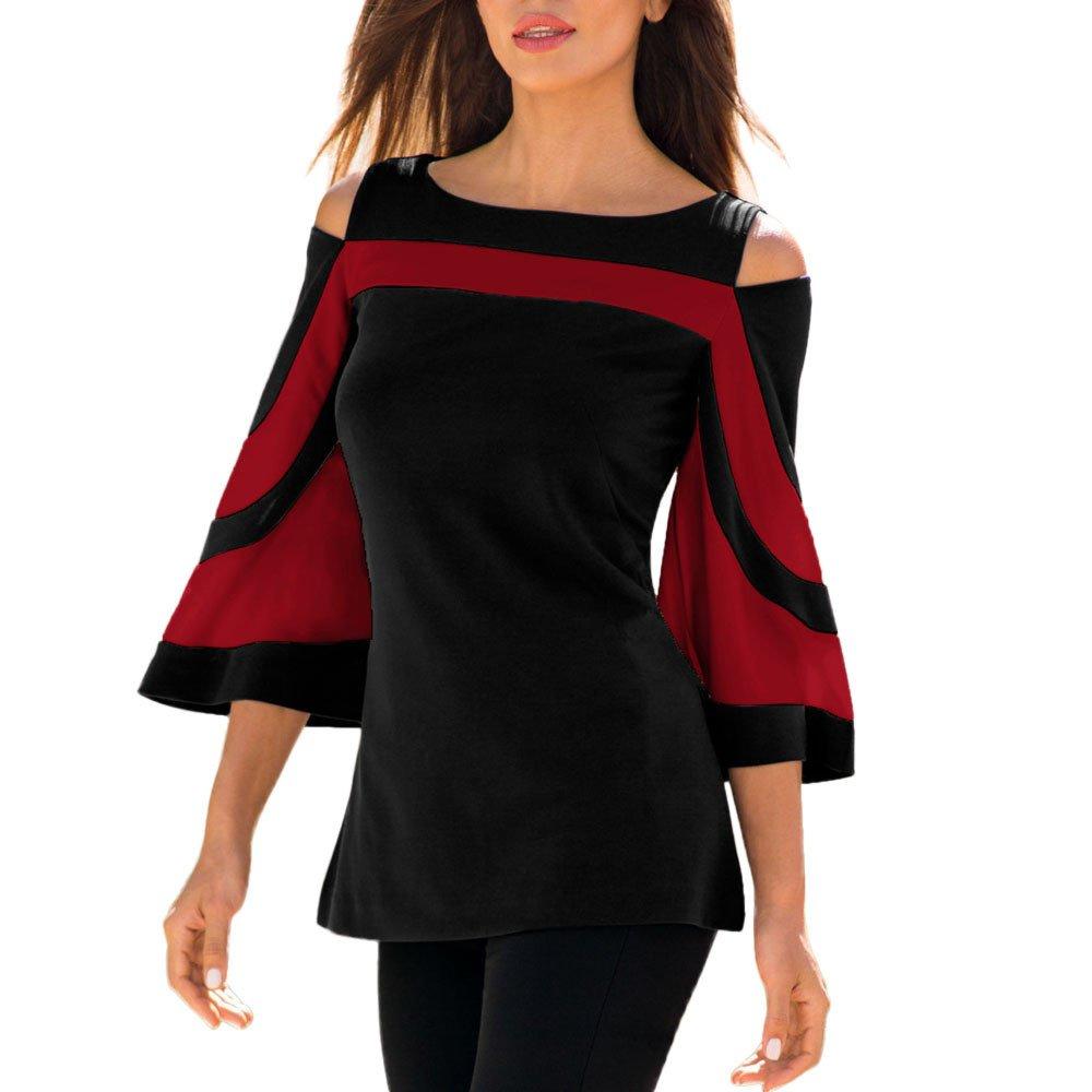 KEERADS T-Shirt Femmes Épaule Froide À Manches 3/4 À Manches À Volants Rayures Mince Sweat Pullover Tops Blouse Shirt
