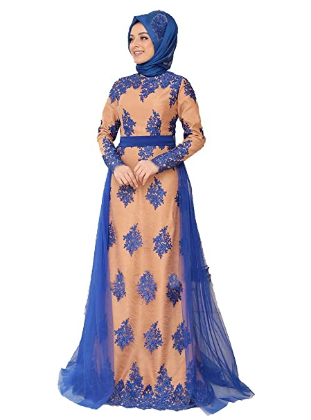 41ab293195 Zehrace Turkish Muslim Modesty Evening Dress Long Sleeves Fully Lined Crew  Neck (40)