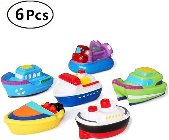Beb/é Squirt Suave Juguetes de ba/ño Ba/ñera de Dibujos Animados PU Nave de Goma Juego de Agua Aprendizaje de Juguetes educativos para ni/ños peque/ños DQTYE 6Pcs Barcos flotantes de Juguete para ba/ño