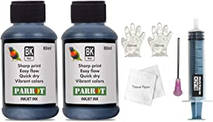 Parrot ink refill kit Suitable for HP 61 Black Ink Cartridge with 120 ml Compatible Ink, Tools & Instructions