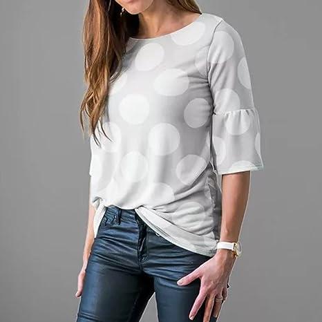 Amazon.com: Blouses for Womens, FORUU Fashion Flare Sleeve Dot Printed Causal T Shirts Tops: Clothing