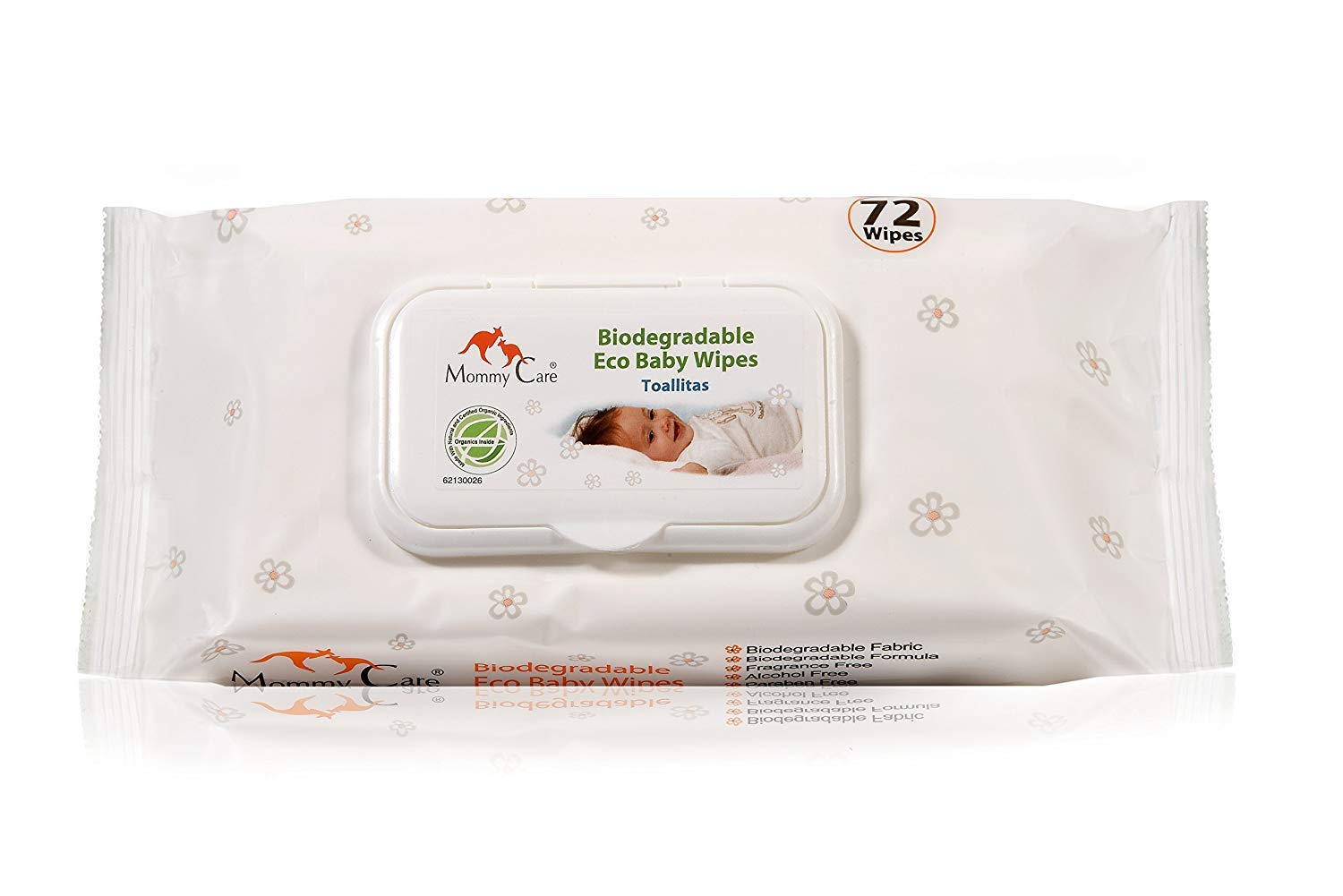 Mommy Care Organic Biodegradable Eco Baby Wipes - SLS and Paraben Free Gently Fragranced Natural Formula Perfect for Babies Sensitive Skin. Great as Hand and Face Sanitizer 1 Pack 72 Count