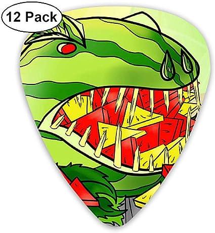 Dibujos animados sandía dinosaurio comer púas de guitarra púas ...
