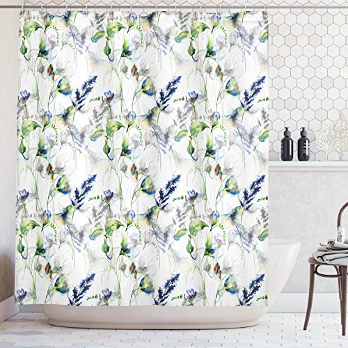 (Ambesonne Flower Shower Curtain, Floral Pattern with Sweet Pea Blossoms in Watercolor Paint Effect Spring Theme Fabric Bathroom Decor Set with Hooks, 70 Inches, White Green)