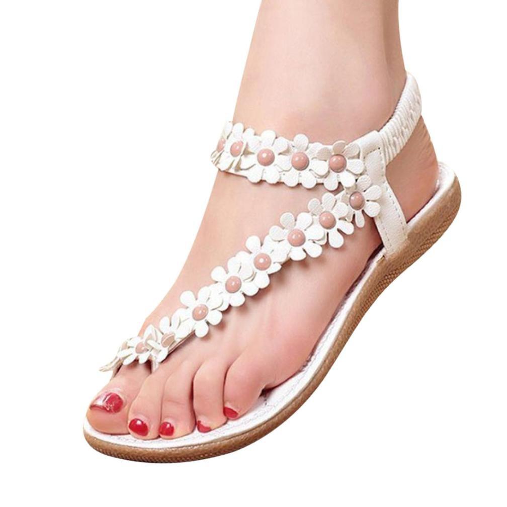 Hattfart Women's Sweet Summer Bohemia Beaded Sandals Clip Toe Flat Sandals B07DK3TJZ5 35 EU|White