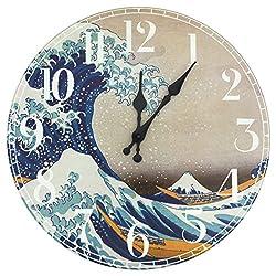 ORIENTAL Furniture Wave Off Kanagawa Wall Clock